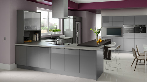solo gloss grey chippendale modern kitchens omega plc