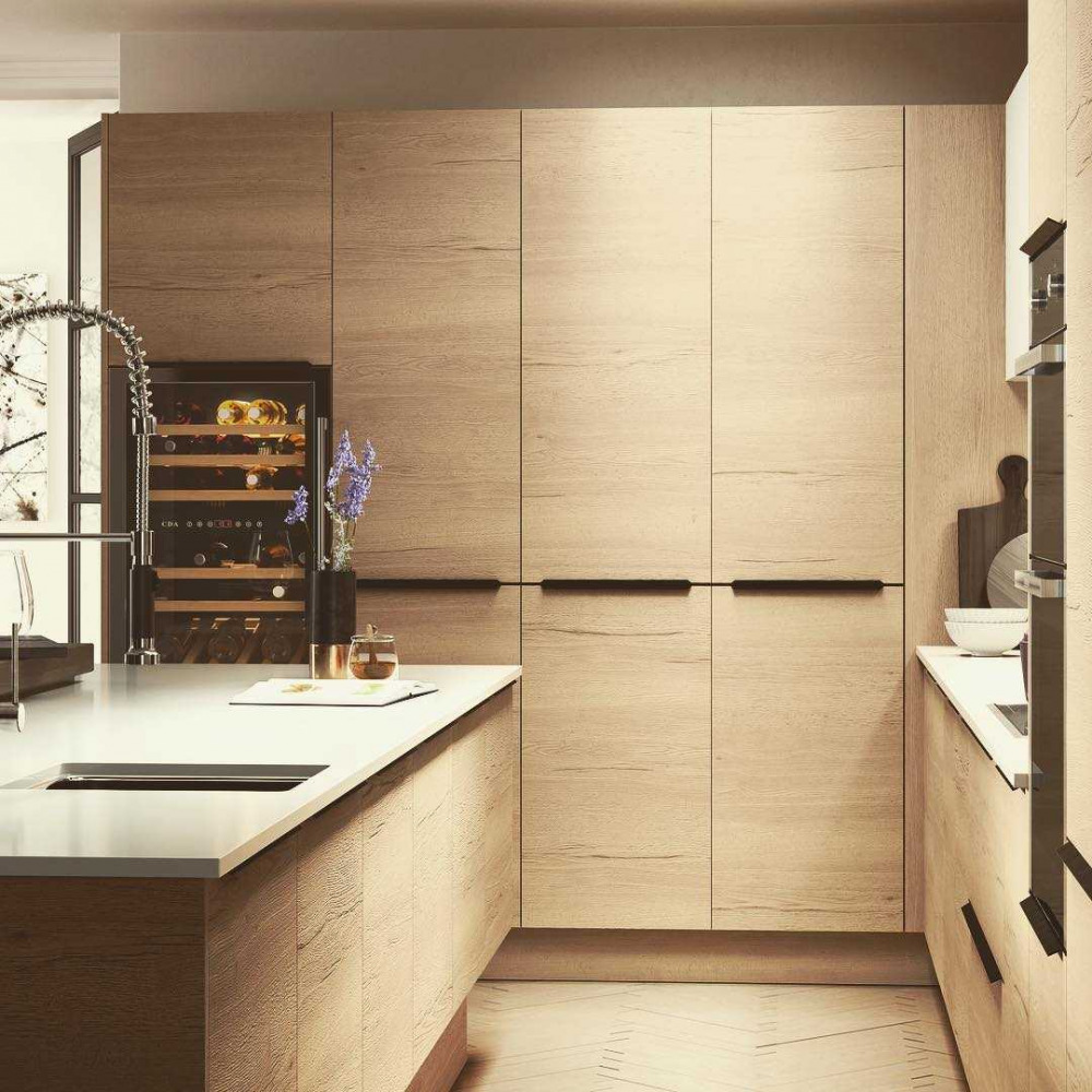 L Shaped Kitchen Oak Wood