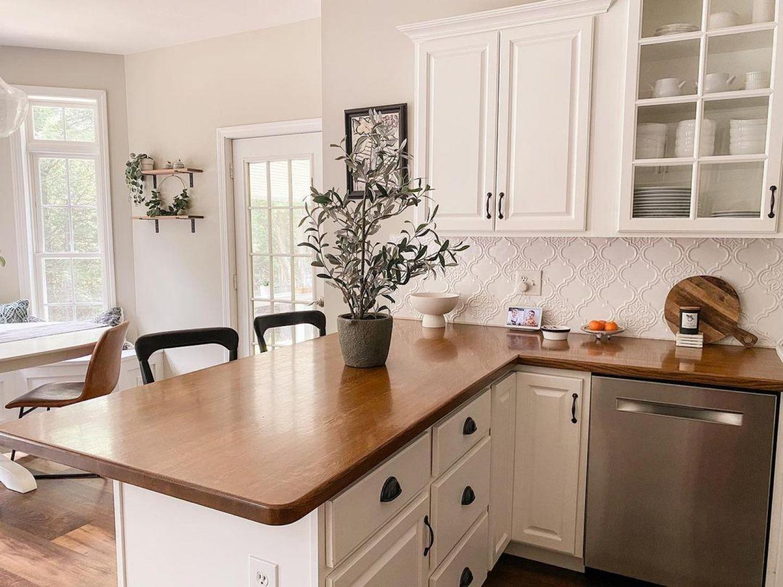 White Kitchen Wooden Worktops Butcher Block Worktop