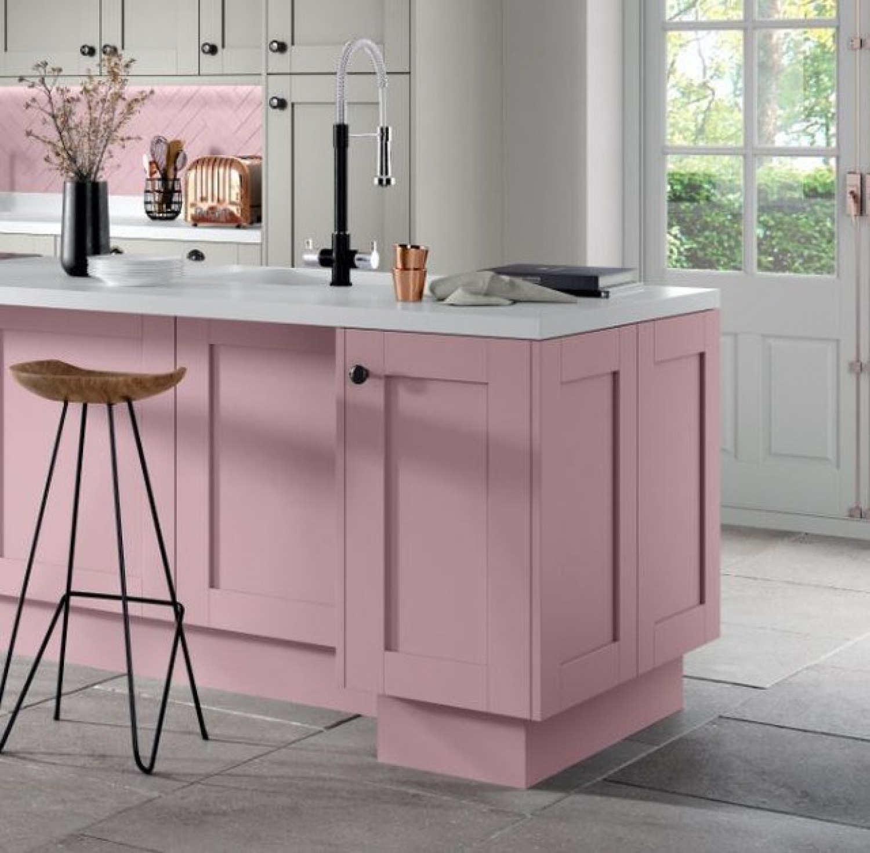 White Kitchen Worktop Ideas Pink Kitchen Island With White Countertop