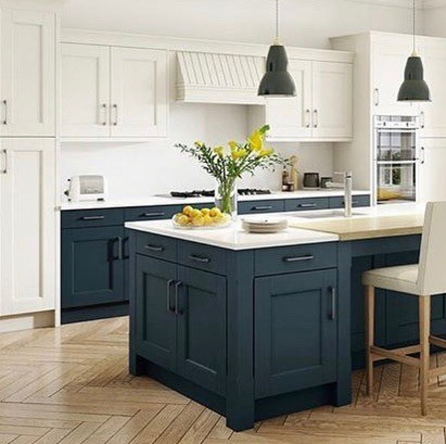 White Kitchen Cabinet Ideas Two Tone Cabinets With Blue Island