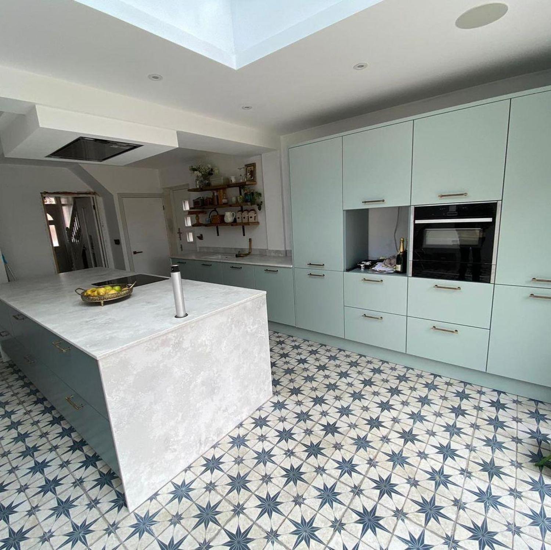Teal Kitchen Ideas Teal Patterened Floor Tiles