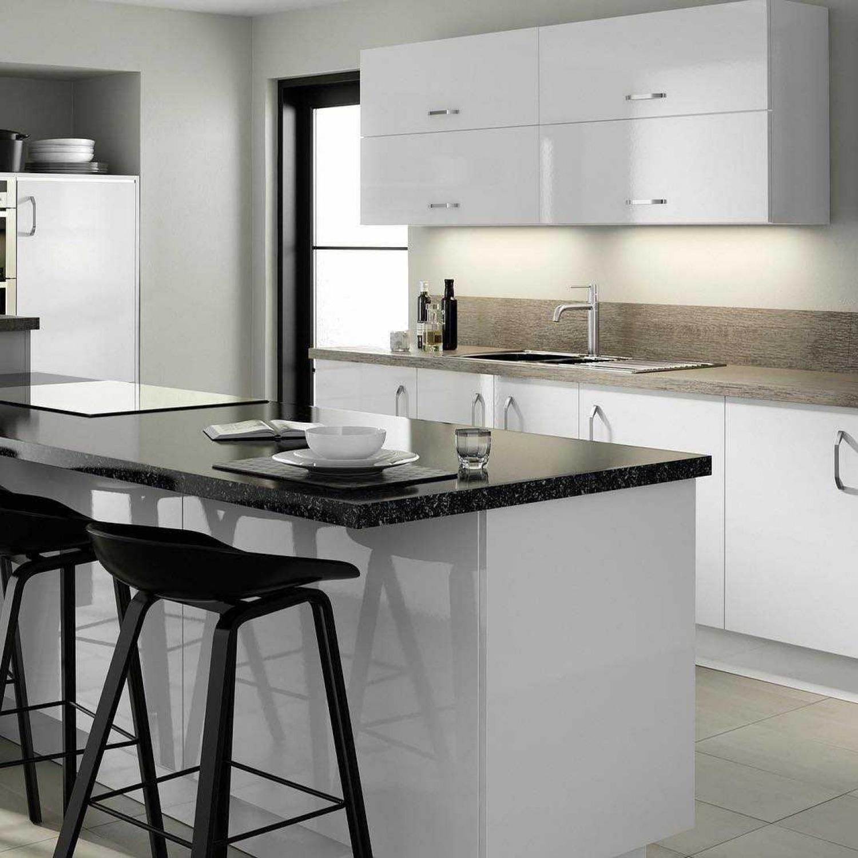 Black Kitchen Worktop Idea White Cabinets