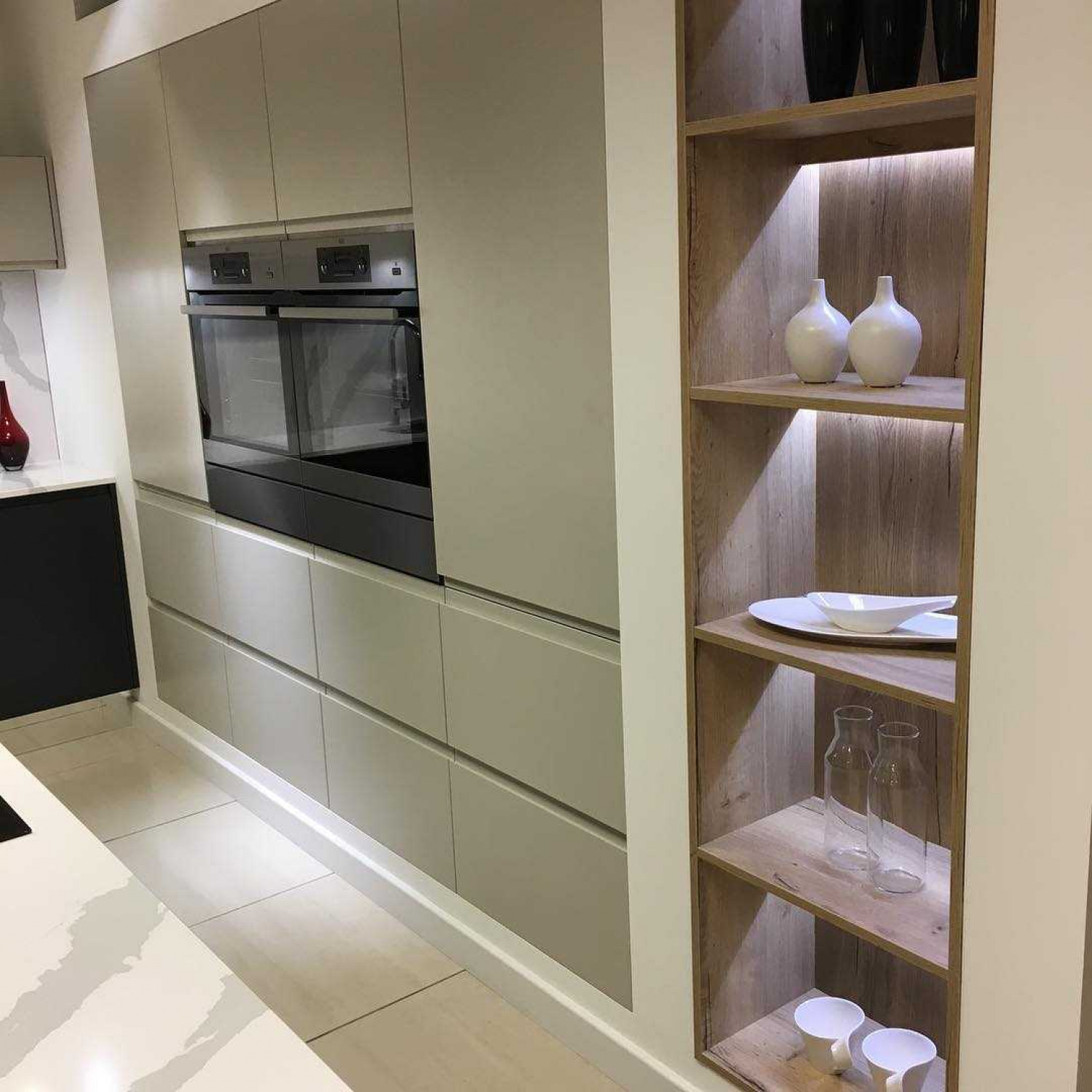 G Shaped Kitchen Open Shelves