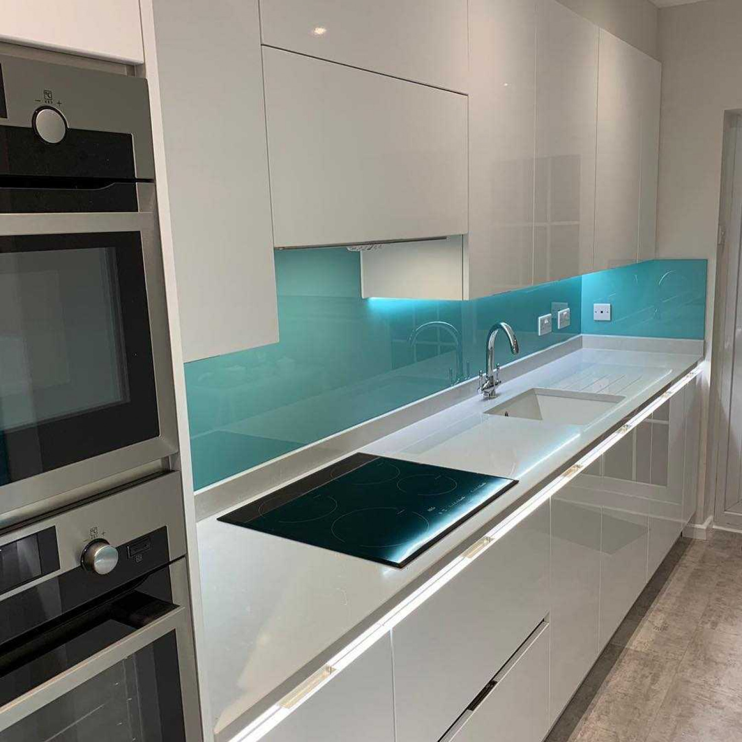Galley Kitchen Reflective Surface