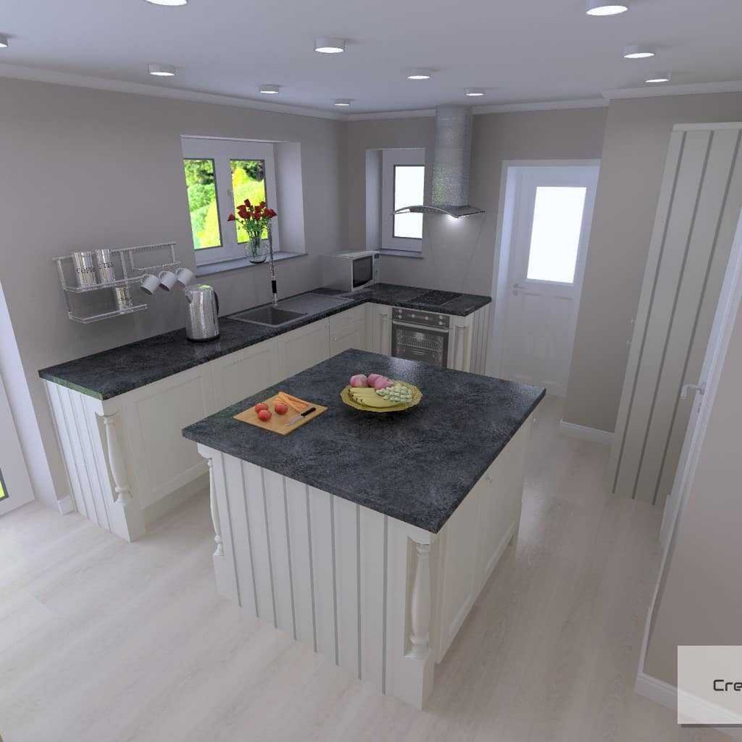 L Shaped Kitchens Island