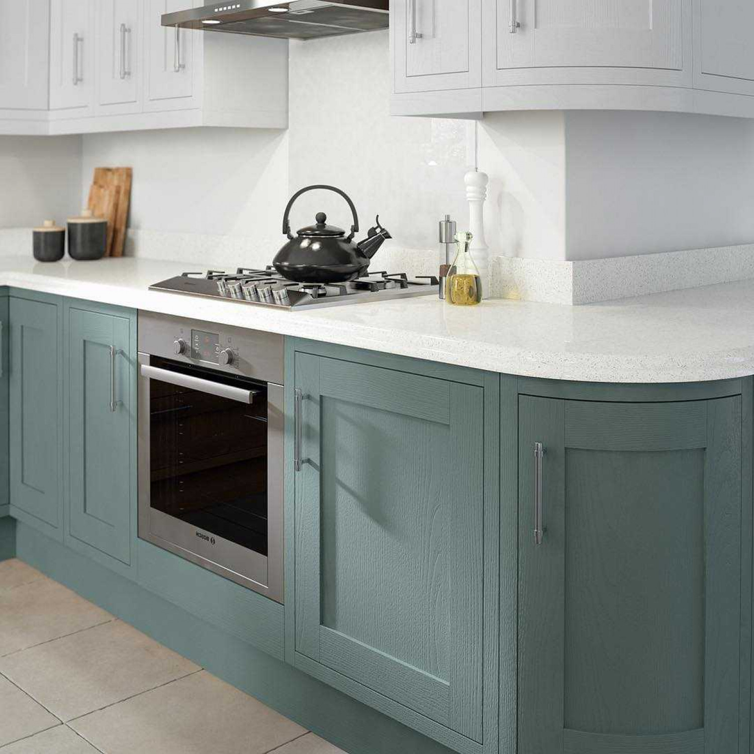Narrow Kitchens Pastels