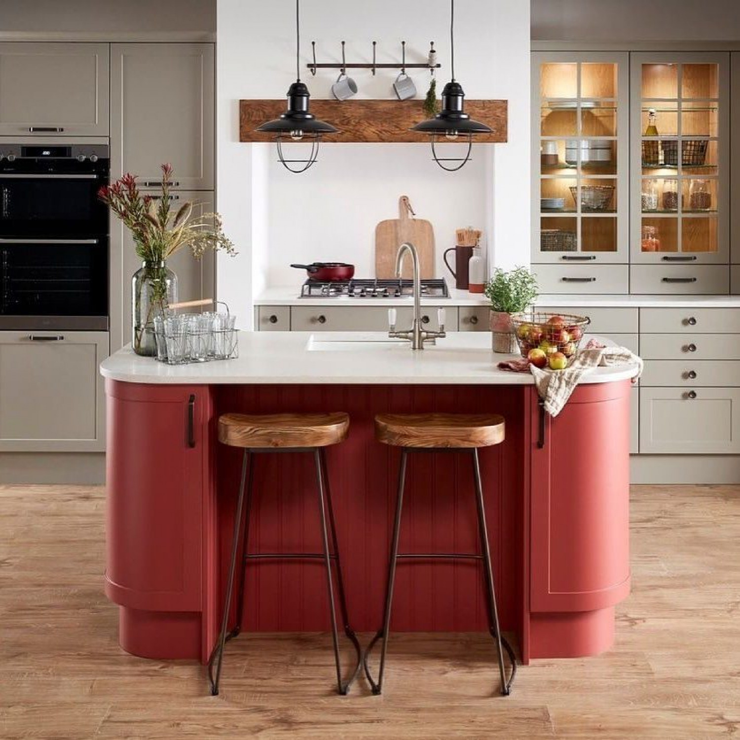 Red Kitchen Ideas Red Island With Cream Cabinets