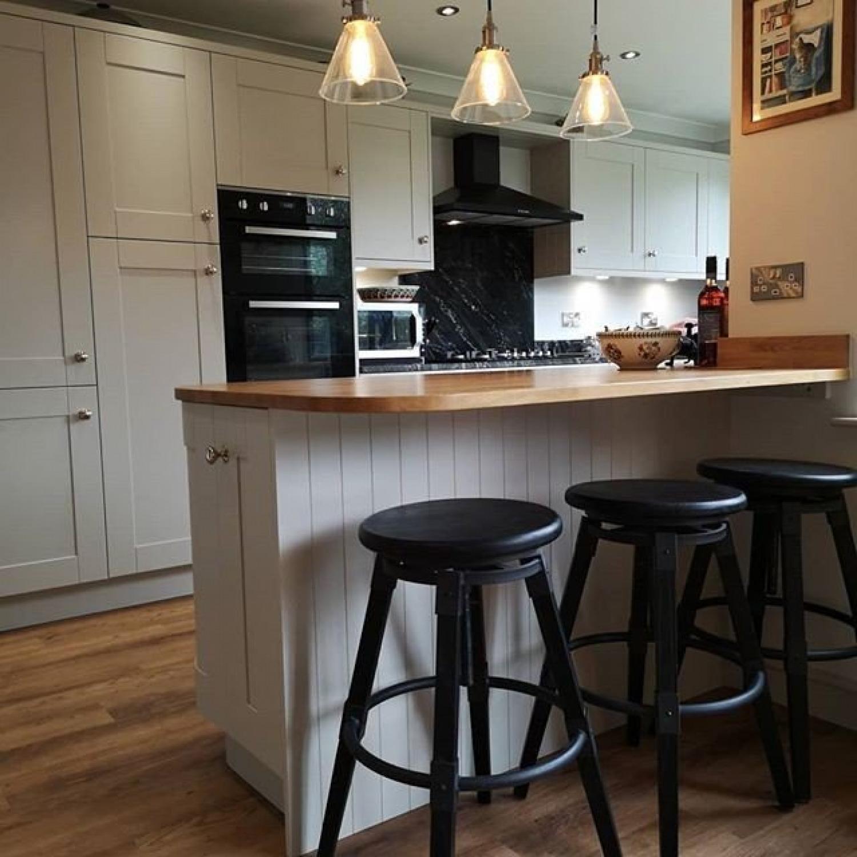 White Kitchen Wooden Worktops Kitchen Island
