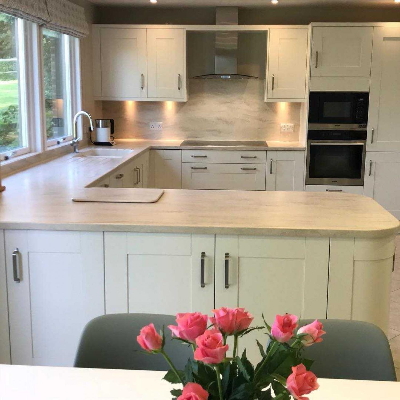 White Kitchen Wooden Worktops Light Wood