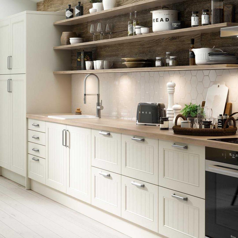 White Kitchen Wooden Worktops Match Shelving