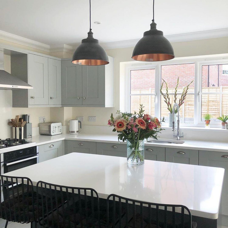 White Kitchen Worktop Ideas Statemen Pendant Lights