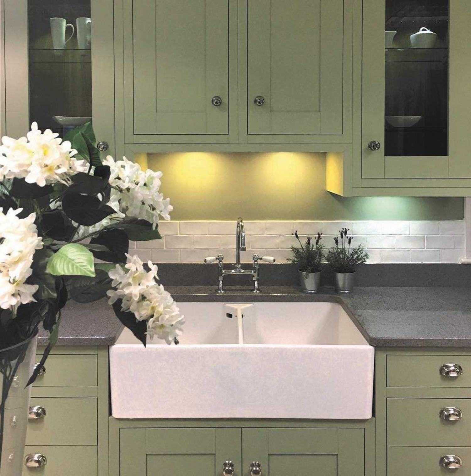Olive Kitchen Ideas Green Cabinets With Flowers