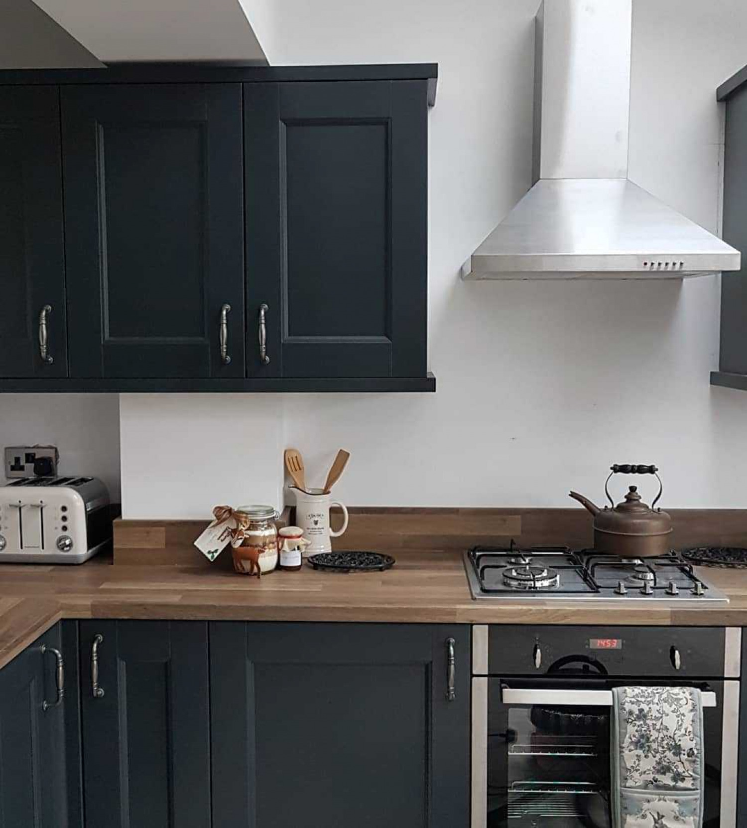 Navy Kitchen Ideas Wooden Countertops