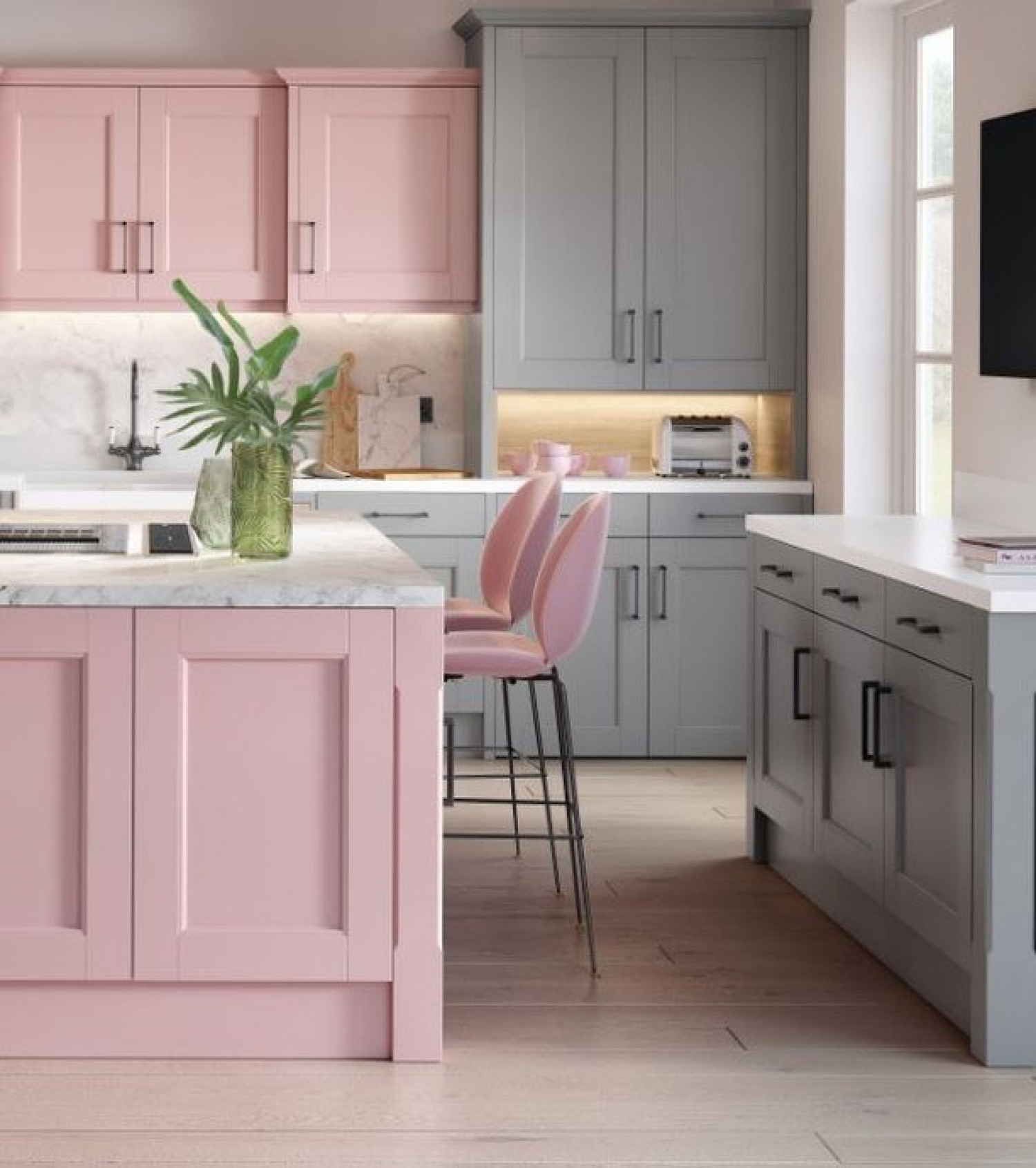 Grey Kitchen Ideas Grey And Pink Cabinets