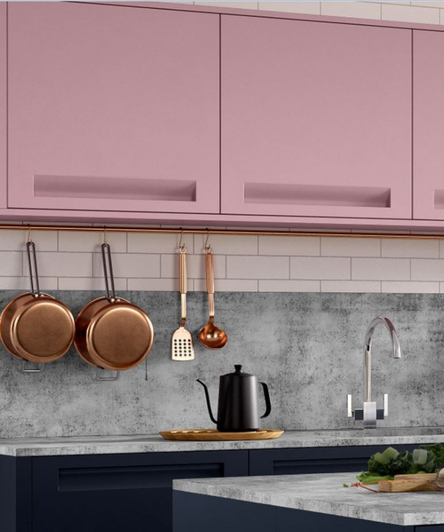 Kitchen Styles Handleless Pink