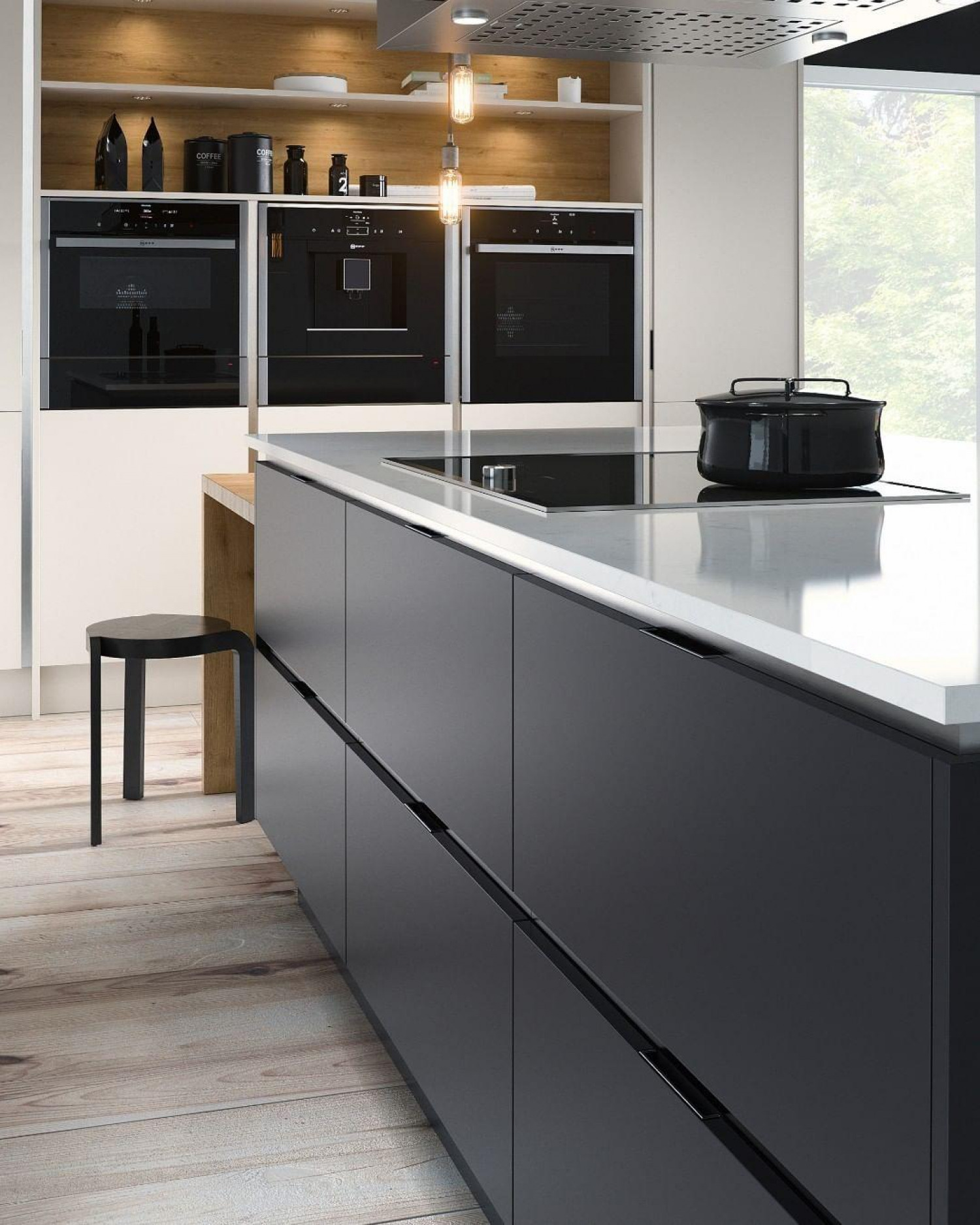 Kitchen Styles Handleless Black