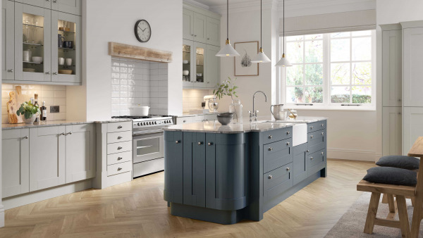 Wood Shaker Painted Light Grey And Oxford Blue
