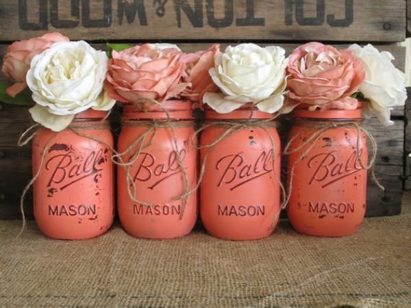 Coral Mason Jars From Rustic Glam Designs