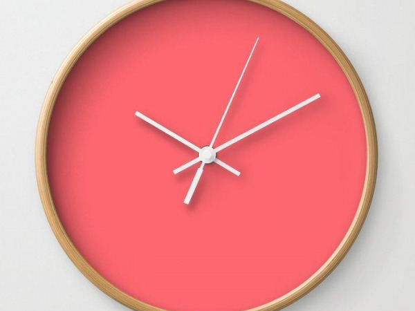 Coral Passion Clock From Society6